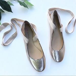 Via Spiga Brianna Lace-up Ballet Flat in Rose Gold